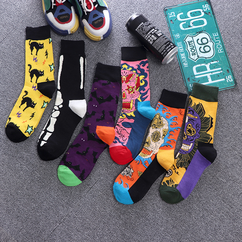 Men's Sock Fashion Harajuku Unisex Socks Hip Hop Funny Skull Foot Bones Bat Cat Halloween Socks Skateboard Fashion