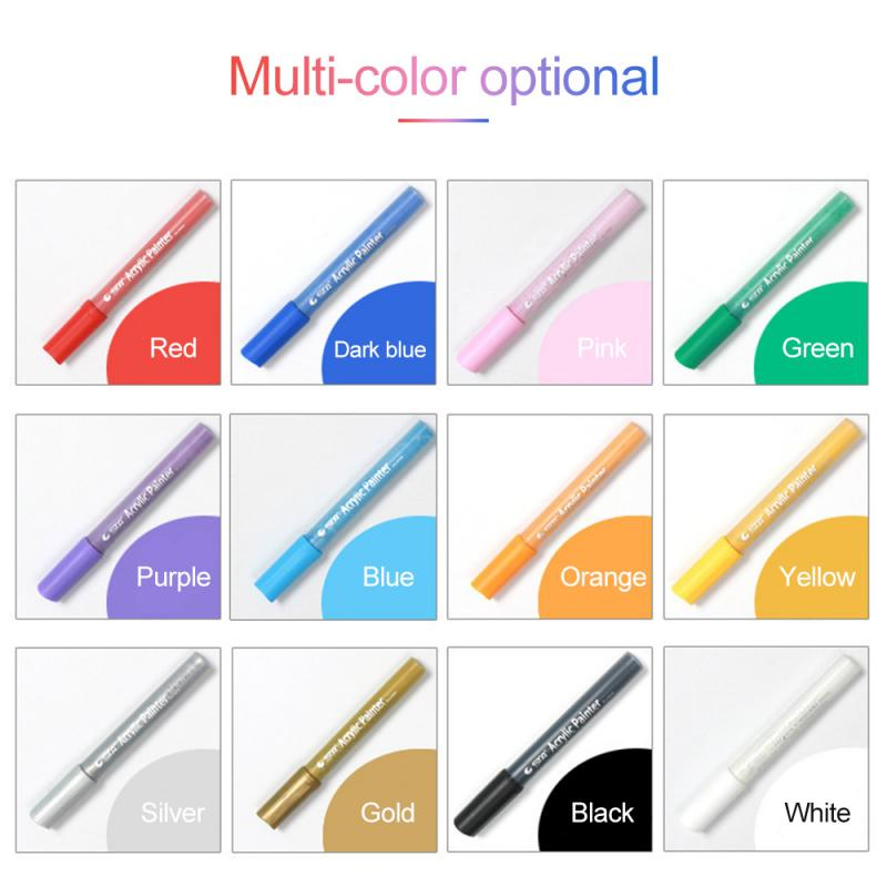 12 Colors Acrylic Waterproof Markers Pens Art Paint Highlighter Watercolor Ink Art DIY Creation Stationary Marker Magical Pen