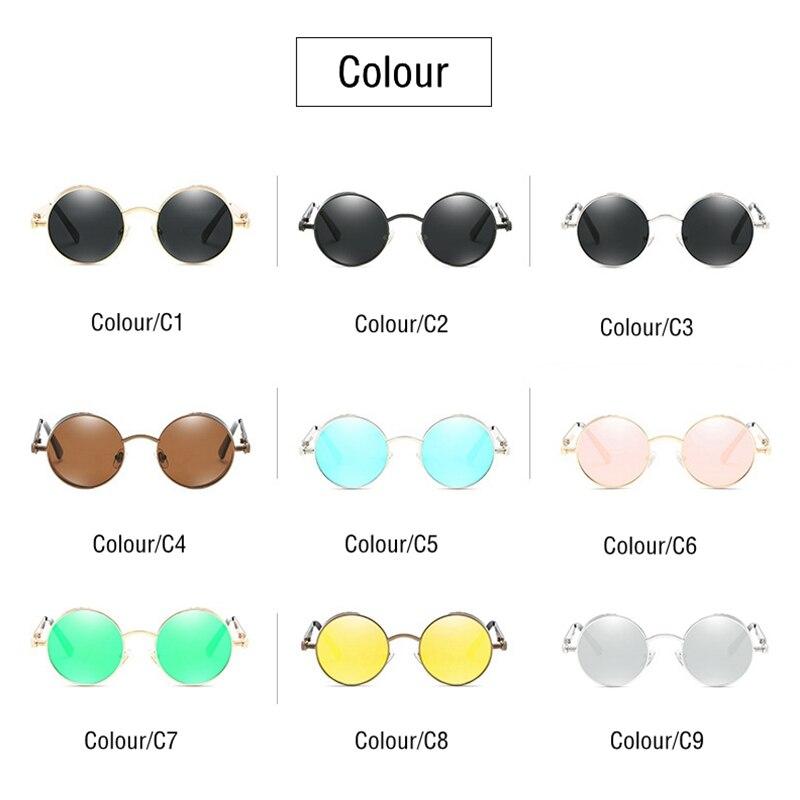 Classic Gothic Steampunk Sunglasses Polarized Men Women Brand Designer Vintage Round Metal Frame Sun Glasses High Quality UV400 5
