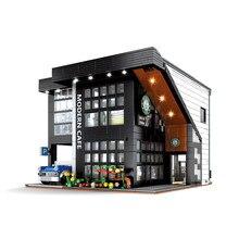 MOC 2926Pcs City Ideas Street View Creator Modern Cafe Modular Building Block Bricks Architecture Construct Model Toys Gifts