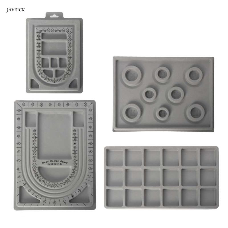 4Pcs Gray Flock Beads Tray Jewelry Design Boards Kit DIY Beading Bracelet Jewelry Tools