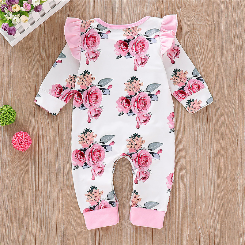 Baby Girls Long Sleeve Romper Bodysuit Jumpsuit Outfits Clothes Ruffle Flower VM