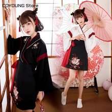 Японское платье кимоно для женщин черно белая с вышивкой кота