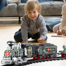 Classic electric steam smoke remote control track train rechargeable with light simulation train sound independent assembly FE