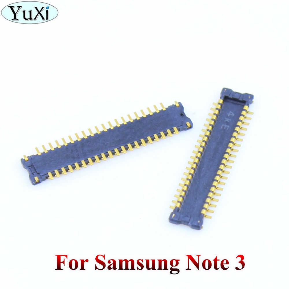 YuXi 2 قطعة لسامسونج غالاكسي S2/S3/S4/S5/S6/S6 حافة/نوت 2 3 4 5 شاشة الكريستال السائل شاشة FPC موصل على اللوحة المنطق مجلس