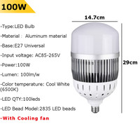 E27 LED Bulb 100W SMD2835 100LM/W Pure White High Brightness LED Light Bulb for Factory Industry AC85 265V