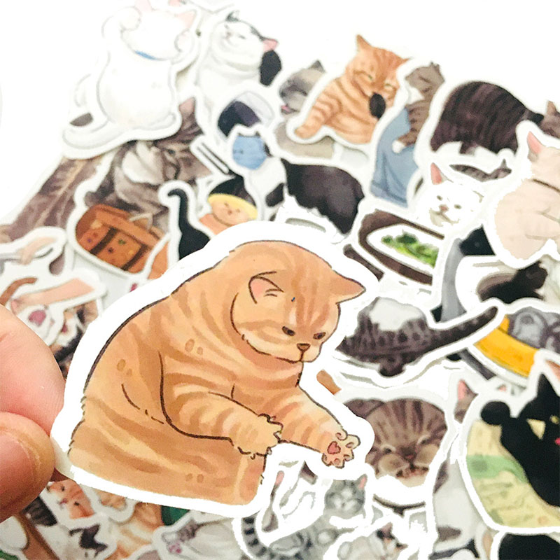 Наклейки в виде милых кошек, животных, граффити, смешанные стильные игрушки для канцелярских принадлежностей, наклейки на ноутбук, велосипе...
