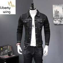 Spring Black Denim Overalls Mens Two Piece Set Long Sleeve Letter Print Jean Jacket Zipper Jeans Fashions Biker Trousers(China)