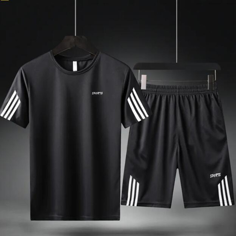 New Sports Kit Men's Short Sleeve Summer Two-piece Set Running Fitness Sweat Suits Men Sweatsuits Soccer Suit Basketball Suit
