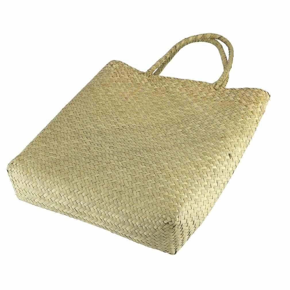 Bolsa de ombro moda feminina bordado cana grama tecido saco de praia
