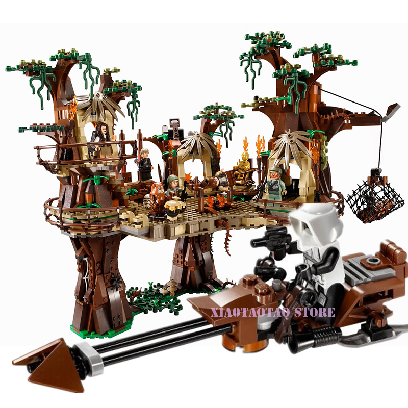 05047 1990pcs Lepining Star Wars Ewok Village Model Building Kits Blocks Bricks Set Children Toys Clone 10236