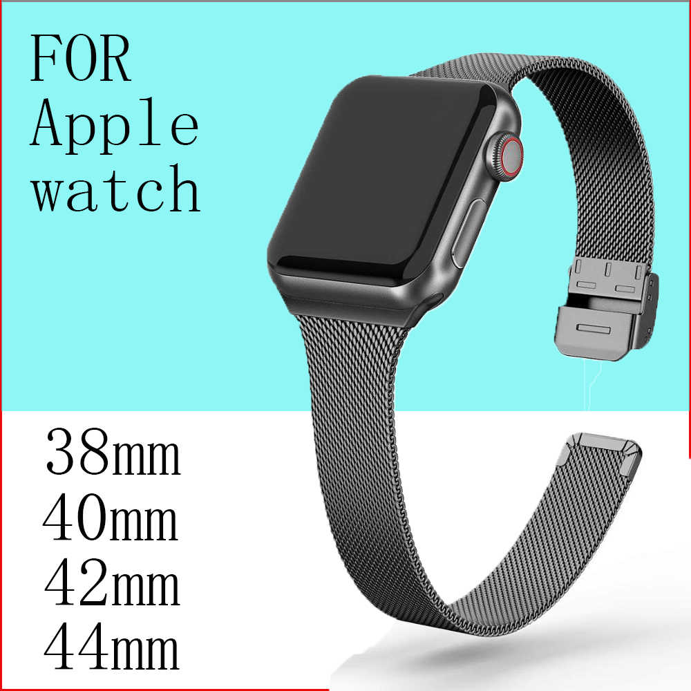 Milanese kayışı Apple İzle 5 bant 40mm iwatch bileklik 38mm ince paslanmaz çelik metal bilezik Apple Watch 4 3 2 1 40 38mm