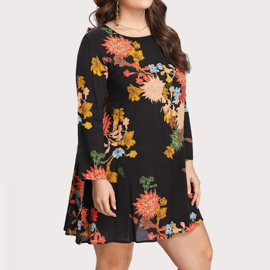 Fashion Women Casual Plus Size O-Neck Flower Print Long Sleeve Loose Dress motion fashion Leisure Solid color style Work clothes