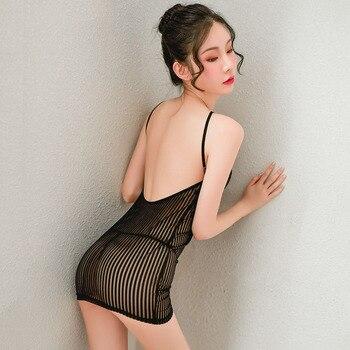 Sexy See Through Erotic Mini Dress for Women Cosplay secretary uniform Party Nightclub Bodycon Dresses with Thong Sex Nightwear 1