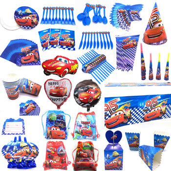 Cartoon Dinsey Cars Theme Paper Cup Plate Straw Child Boy Lightning McQueen Birthday Gift Bag Banner Candy Box Tablecloth Supply image