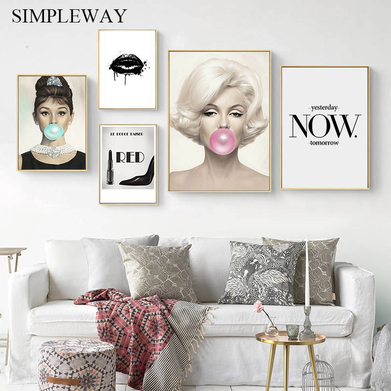 Audrey Hepburn Marilyn Monroe Bubble Fashion Girl Poster Black Lips Canvas Wall Art Print Painting Modern Decoration Picture