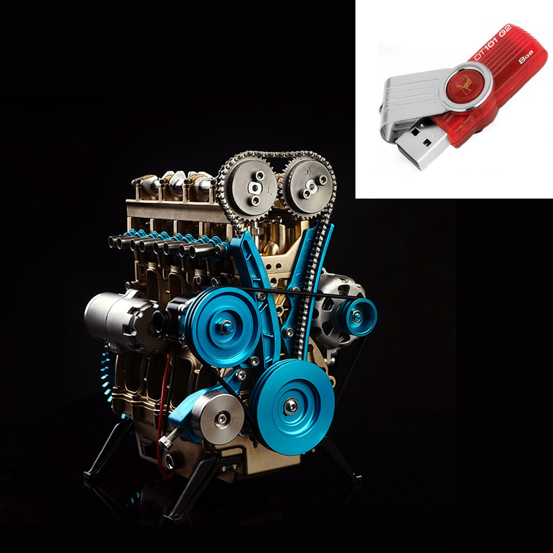 Высоко рекомендуемый полностью металлический автомобиль мини сборный встроенный четырехцилиндровый двигатель модель игрушки для взрослых - Цвет: DIY SET