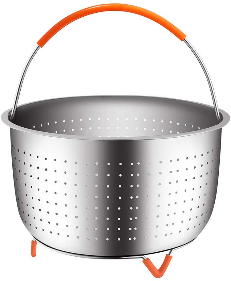 The Original Sturdy Steamer Basket 3/6/8 Quart Pressure Cooker 18/8 Stainless Steel Steamer Insert With Silicone Covered Handle