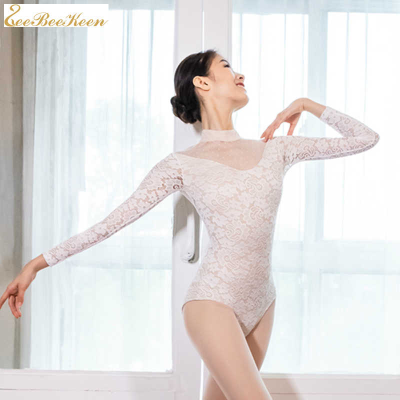 בלרינה בלט ריקוד ללבוש למבוגרים התעמלות בגדי גוף נשים שחור/לבן סקסי תחרה גבוהה צווארון ארוך שרוול ריקוד yoga בגד גוף