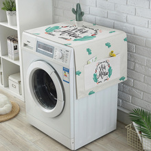 Nordic Ins Cactus Letter Printing Dust Cover Washing Machine Microwave Refrigerator Waterproof Cover Cloth Pocket Storage Bag