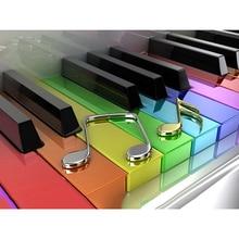 5D алмазная живопись фортепианные нотки полный квадрат/Мозаика из круглых бриллиантов фото горный хрусталь Алмазная вышивка мультфильм