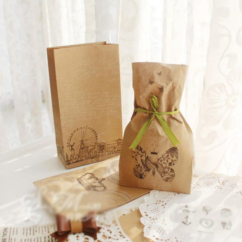 6pcs Vintage Paper Bag Stand Up Butterfly Flower Bags Favor Open Top Gift Packing Paper Treat Gift Bag Stationery Packing