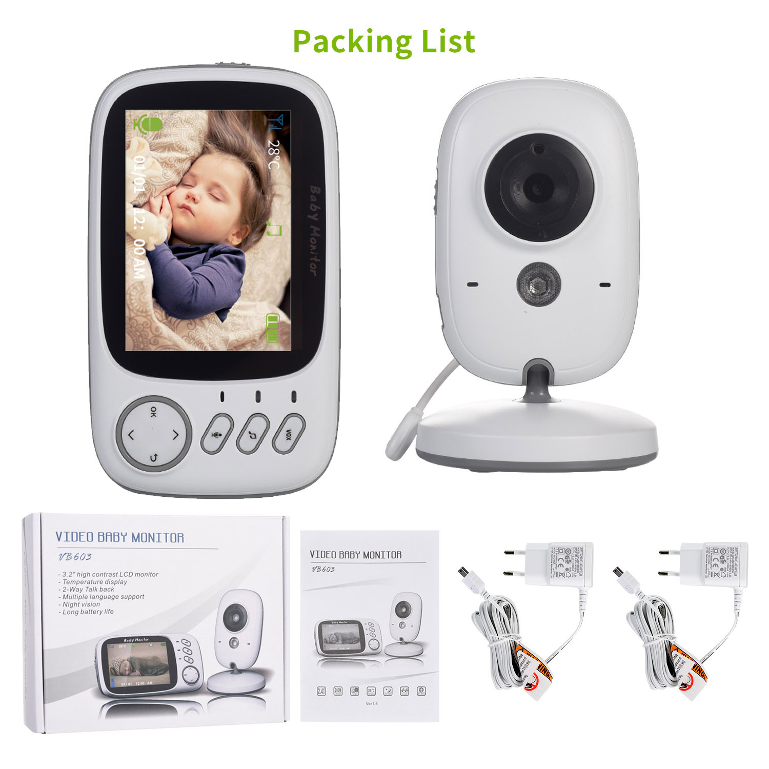 3 inch Wireless LCD Baby Monitor With Night Vision And 2 way Talk Monitor Baby Camera 5