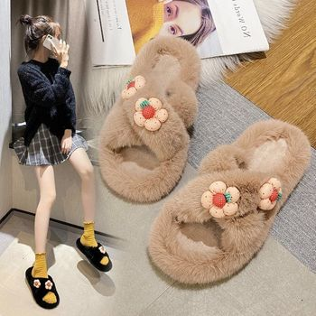 2020 Winter Women House Slippers Faux Fur Fashion Warm Indoor Bedroom Soft Flat Shoes Female Slip On Home Furry Ladies Slippers women slippers indoor shoes winter soft home slippers plush warm non slip fur shoes flat casual female