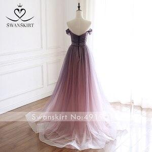 Image 2 - Romântico vestido de noite 2020 swanskirt praia fora do ombro a linha tule princesa cinto de cristal vestido de noiva noiva a263