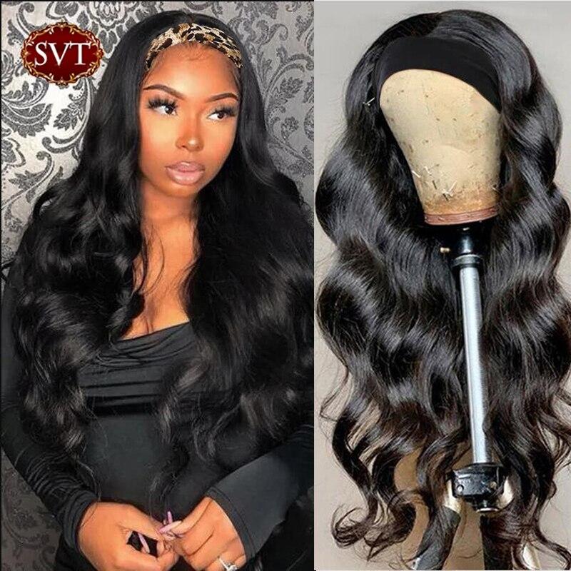 SVT peluca con diadema 100% cabello humano peluca y bufanda/150%/180% de densidad Remy brasileño de la onda del cuerpo de la peluca Ondulado Natural sin pegamento peluca para mujeres 1B Pelucas hechas a máquina    -