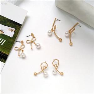AOMU-Simple-Geometric-Irregular-Line-Stripe-Earring-Accessories-Metal-Gold-Color-Drop-Earring-Pearl-Dangle-Earring
