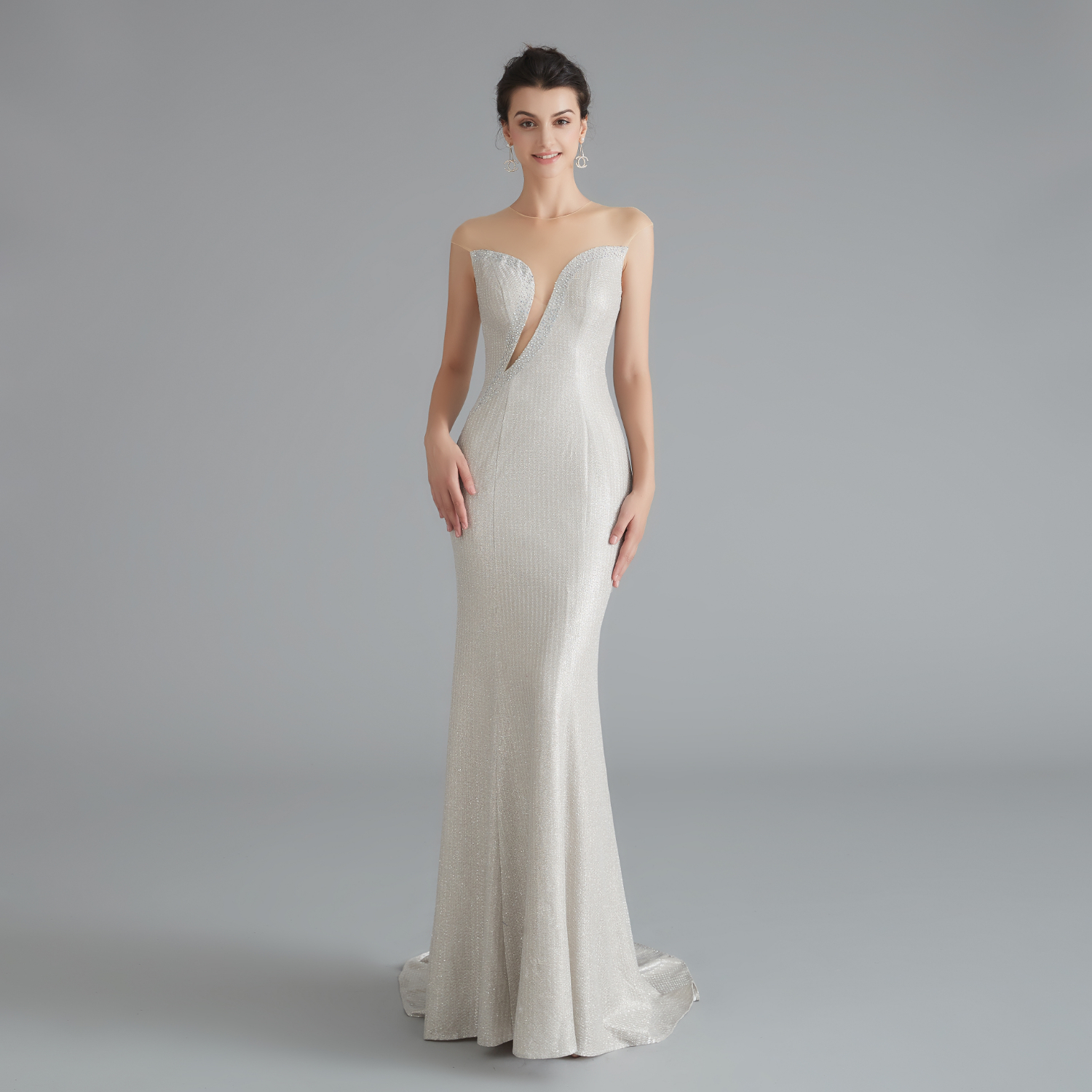 Vivian's Bridal Sexy Front Cut-out Illusion O-neck Mermaid   Evening     Dress   2019 Elegant Beading Sweep Train Formal Party   Dress