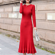 Fashion Autumn Sweater Dress Women Knitted Dresses Elegant Woman Sweaters Bodycon Korean Mermaid OL