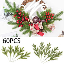 60 шт Искусственные сосновые иголки ветви цветы зеленые рождественские