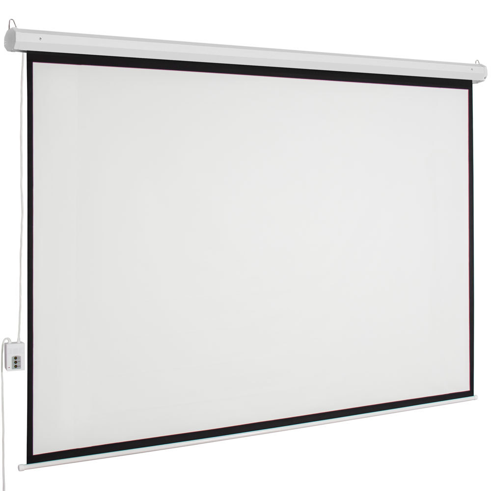 """100"""" 4:3 Household Viewing Area Motorized Projector Screen with Remote Control+Screw Hooks Large Screen Projector Accessories"""