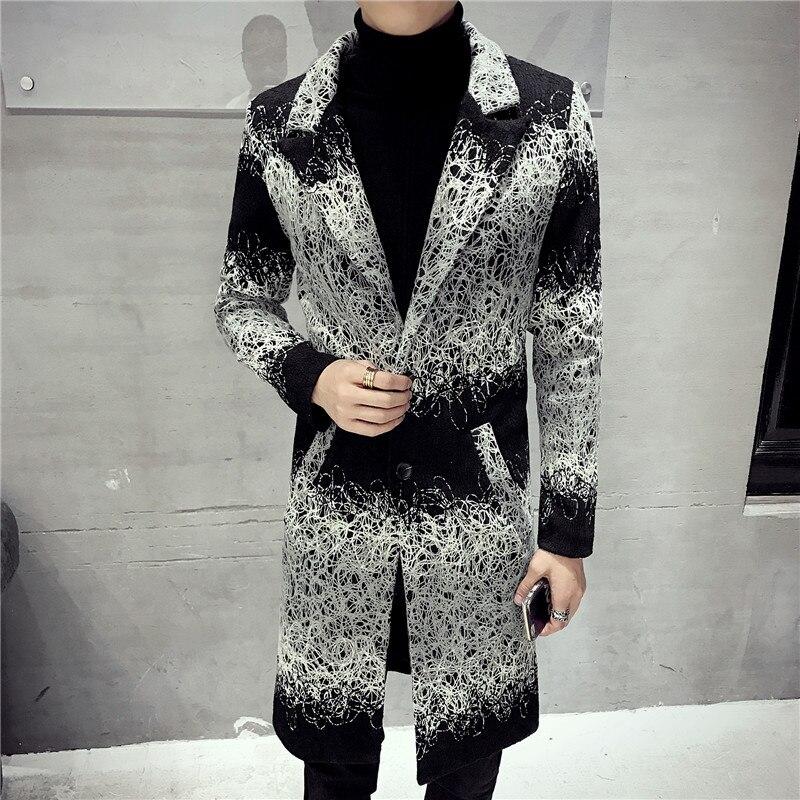 Men Wool Jacket Warm Winter Trench Coat Long Outwear Button Overcoat stand collar Casual Windbreaker Overcoat Jackets Blends