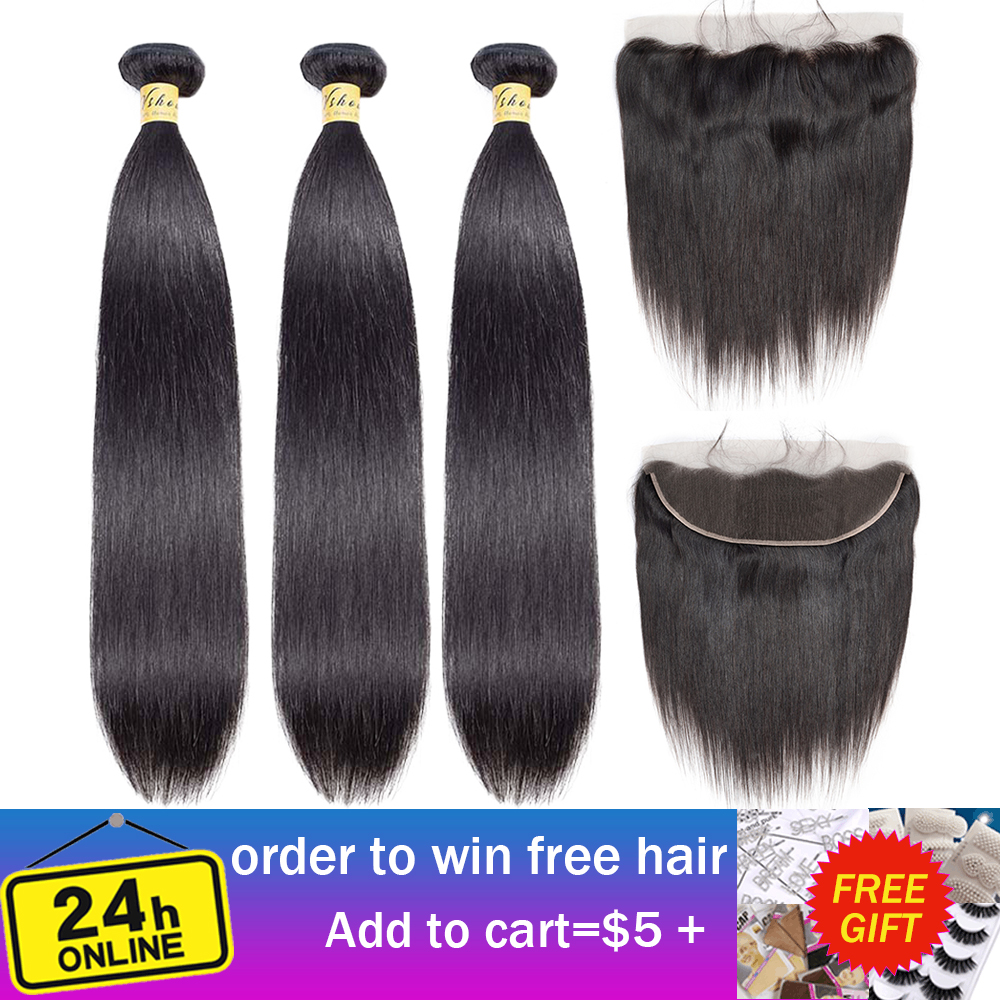 VSHOW Malaysian Straight Human Hair Bundles With Frontal Closure Remy Hair Extensions 3 Or 4 Hair Bundles With Closure Frontal