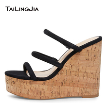 Wedges Shoes for Women Black Strappy Wedge Heels Platform Platforms Yellow Cork Sandals Nude Mules Ladies Summer