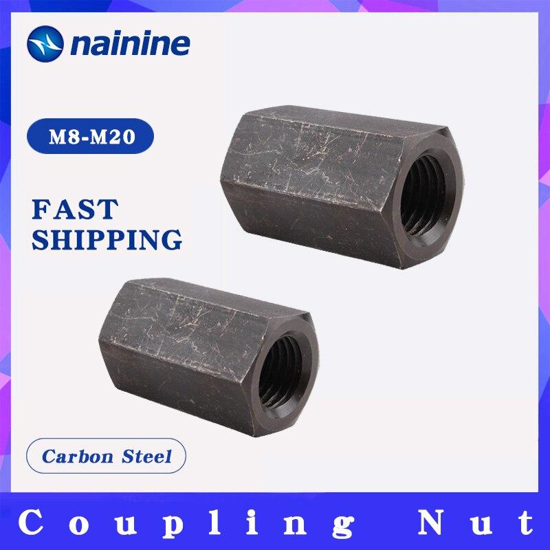 Zinc Plated M6 M8 M10 M12 M14 M16 M20 Hex Rod Coupling Nuts Bar Stud Long Nut