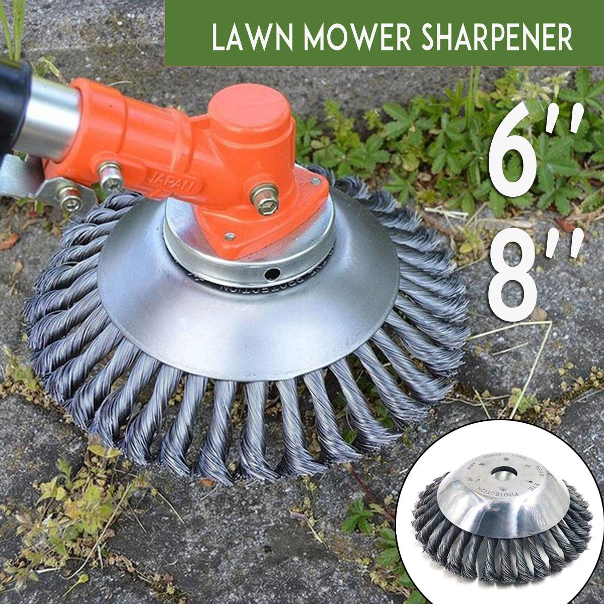 6 Inch /8 Inch Steel Wire Grass Trimmer Head Tray Brush Cutter Rotary Wheel Edge Head Dust Removal Safe For Lawn Mover Part Tool