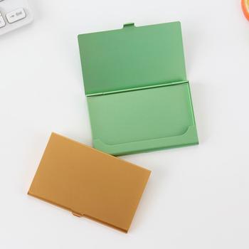 Kreatywny etui na wizytówki ze stali nierdzewnej aluminium metalowe pudełko na kartę kredytowa dowód osobisty etui z miejscem na karty 1 sztuk tanie i dobre opinie CN (pochodzenie) RMM217 Średniej wielkości Posiadacze posiadacze kart uwaga SQUARE Na co dzień