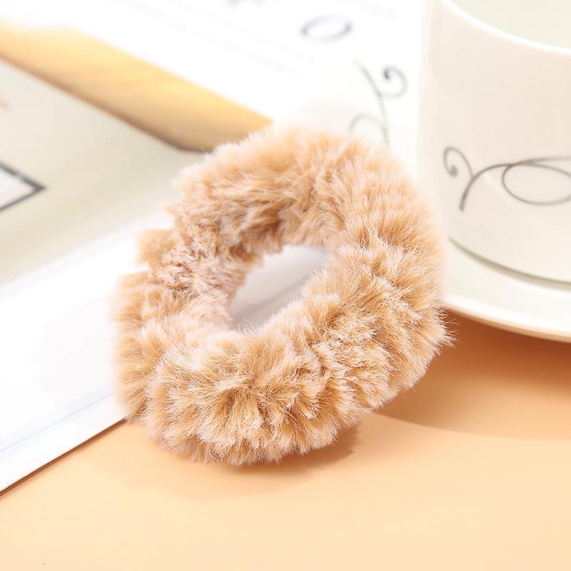 Мягкая Плюшевая повязка для волос резинки для волос натуральный мех кроличья шерсть мягкие эластичные резинки для волос для девочек однотонный цветной хвост резинки для волос для женщин - Цвет: 22