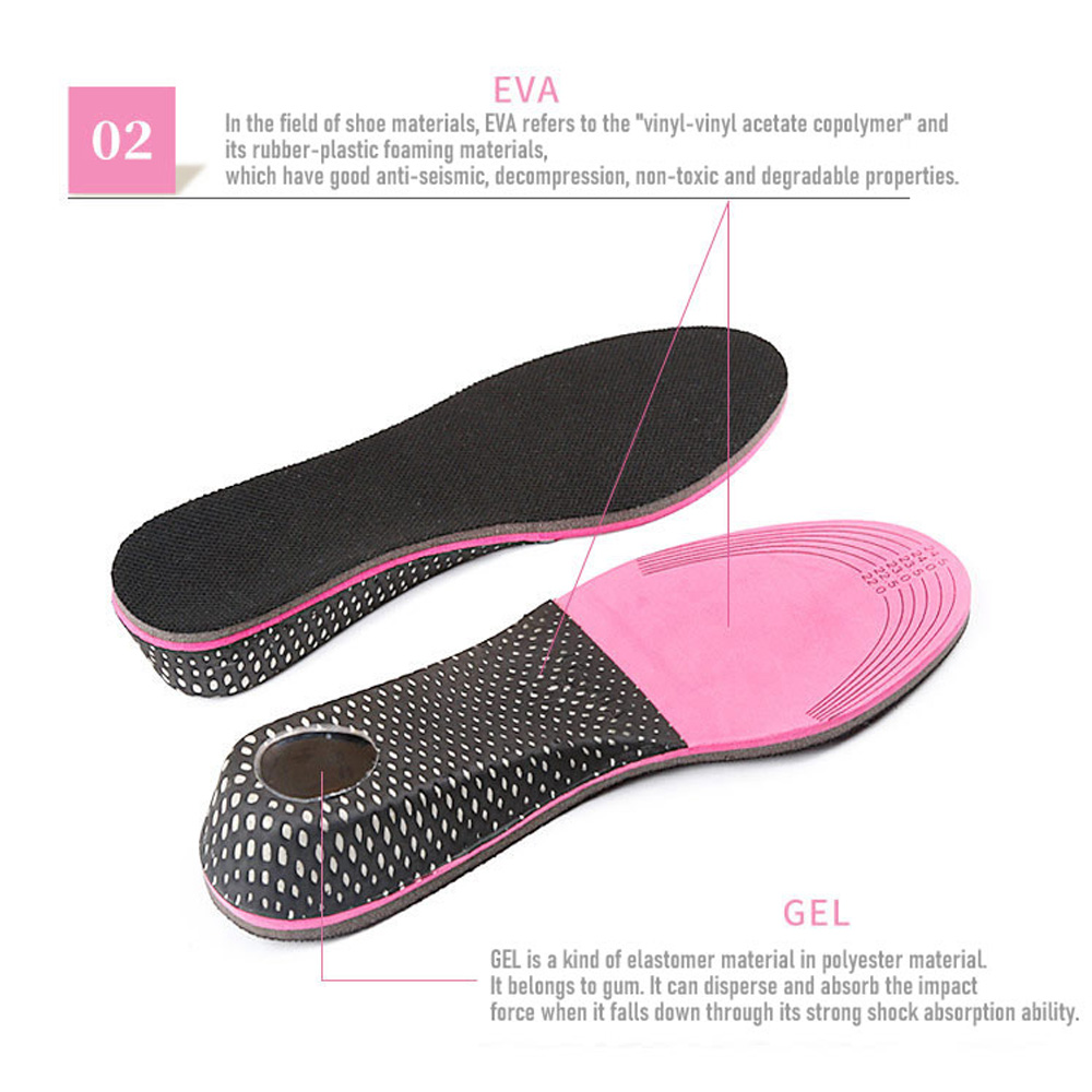 1 Pair Unisex Insoles Air Cushion Heel Inserts Increase Height Warm Shoe Pads