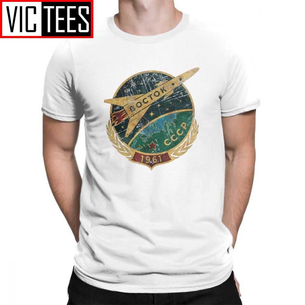 Pria T Shirt Pro Kitty Soviet Vostok Rusia Yuri Gagarin Musim Panas Gaya Vintage Lengan Pendek Katun CREW NECK Tee