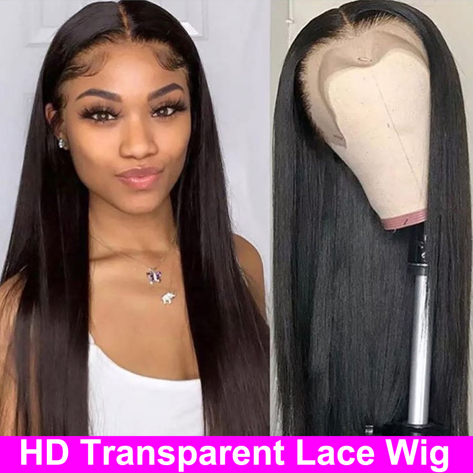 13x4 HD Transparent Lace Frontal Wigs 4x4 6x6 Lace Closure Wig 13x6 Lace Front Human Hair Wigs Brazilian Straight Lace Front Wig