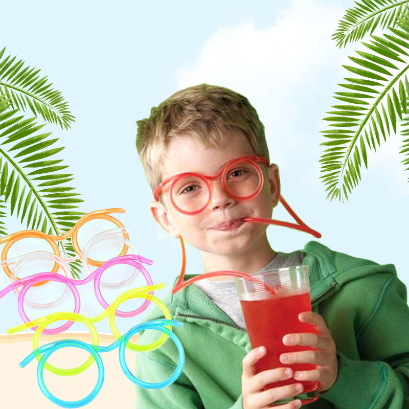 Creative Funny Soft Plastic Straw For Kids Birthday Party Toys Fun Glasses Flexible Drinking Toys Children Baby Party Toys Gifts