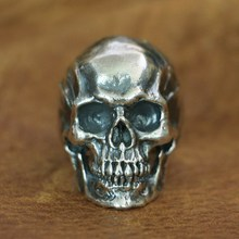 цена на LINSION 925 Sterling Silver High Detail Skull Ring Mens Biker Punk Ring TA50 US Size 7~15