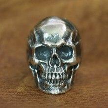 LINSION 925 en argent Sterling haut détail crâne anneau hommes Biker Punk anneau TA50 taille américaine 7 ~ 15