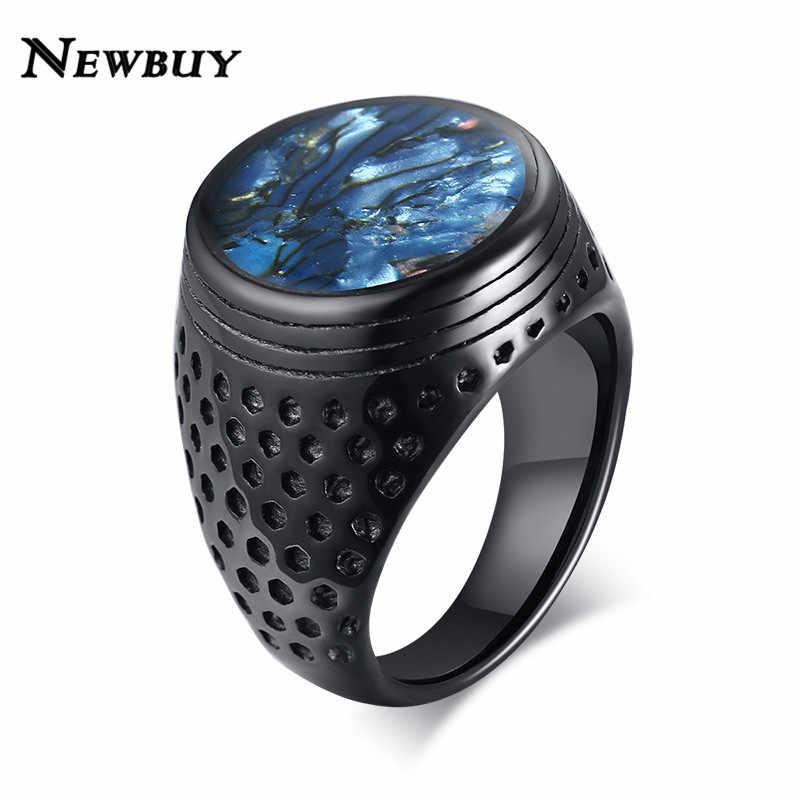 NEWBUY Mens כחול פגז שטוח חותם טבעת פאנק שחור נירוסטה כבד ערבית להקת זכר ברית אנל תכשיטים