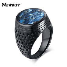 NEWBUY Mens Blue Shell Flat Signet Ring Punk Black Stainless Steel Heavy Arabic Band Male Alliance Anel Jewelry(China)